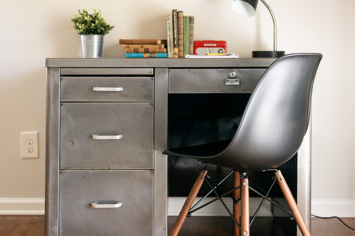 Bare metal mid-century steel tanker desk