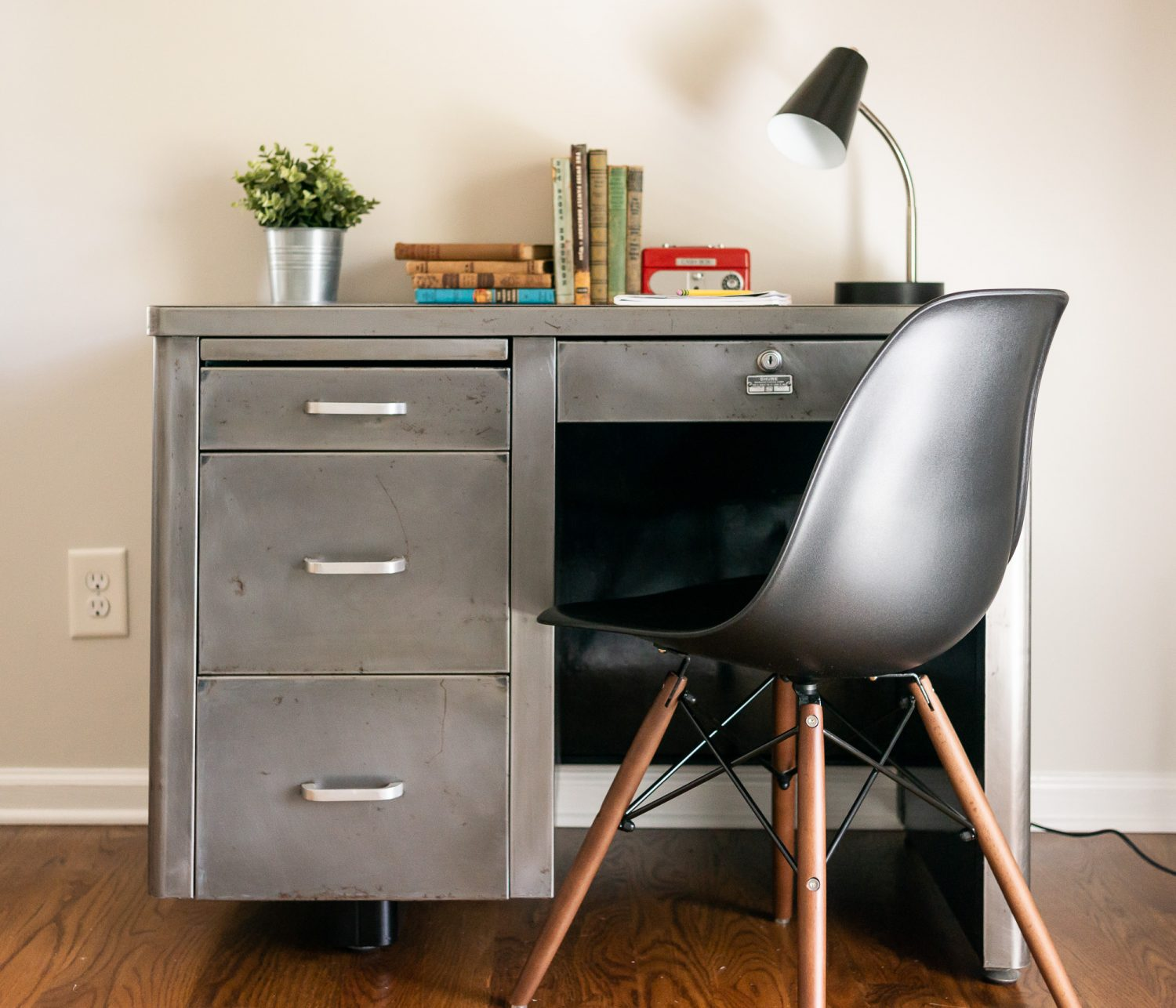 Bare Metal Mid Century Steel Taker Desk For Boys Room