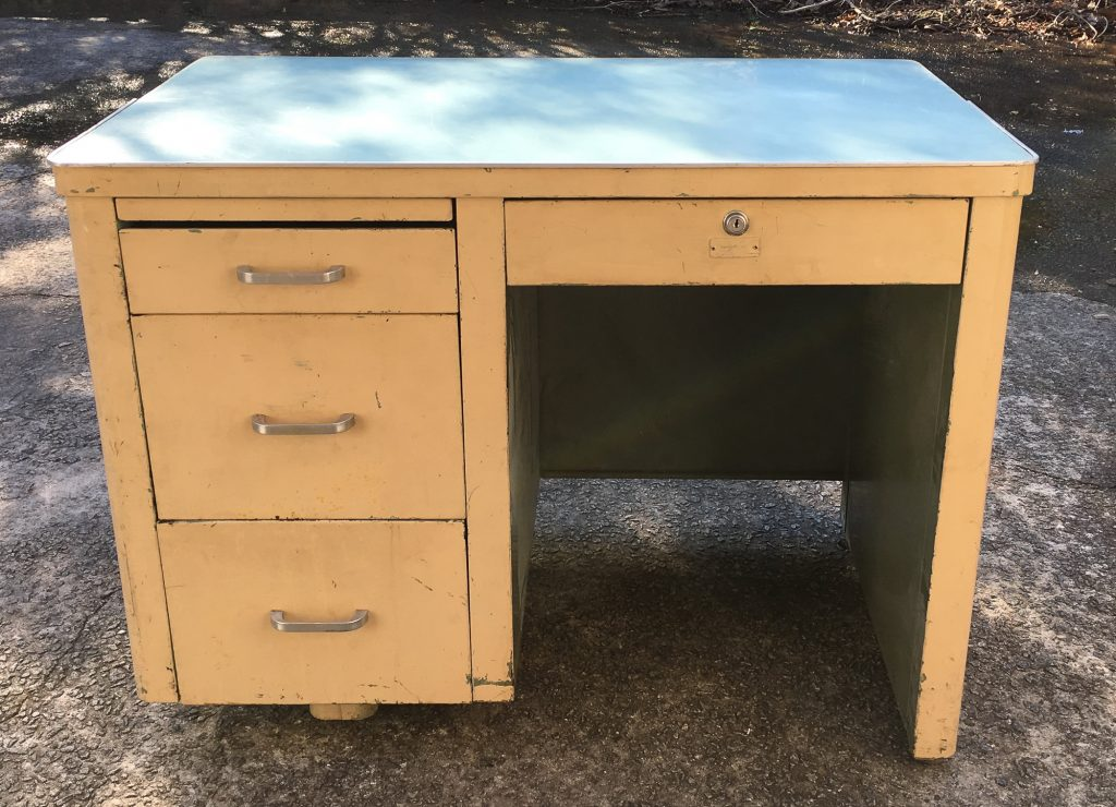 mid century steel tanker desk for boys