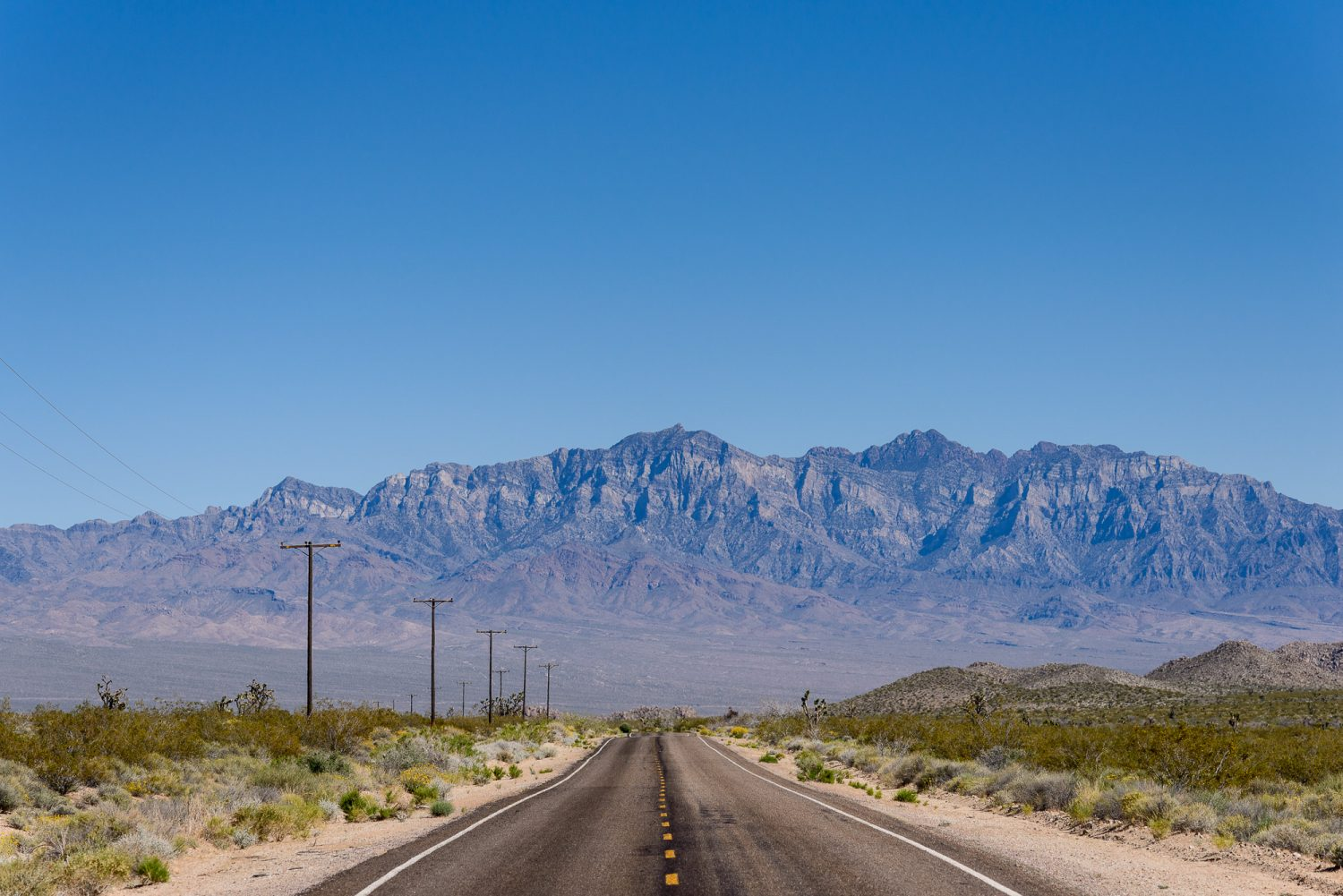 Desolate road in the Mojave Desert