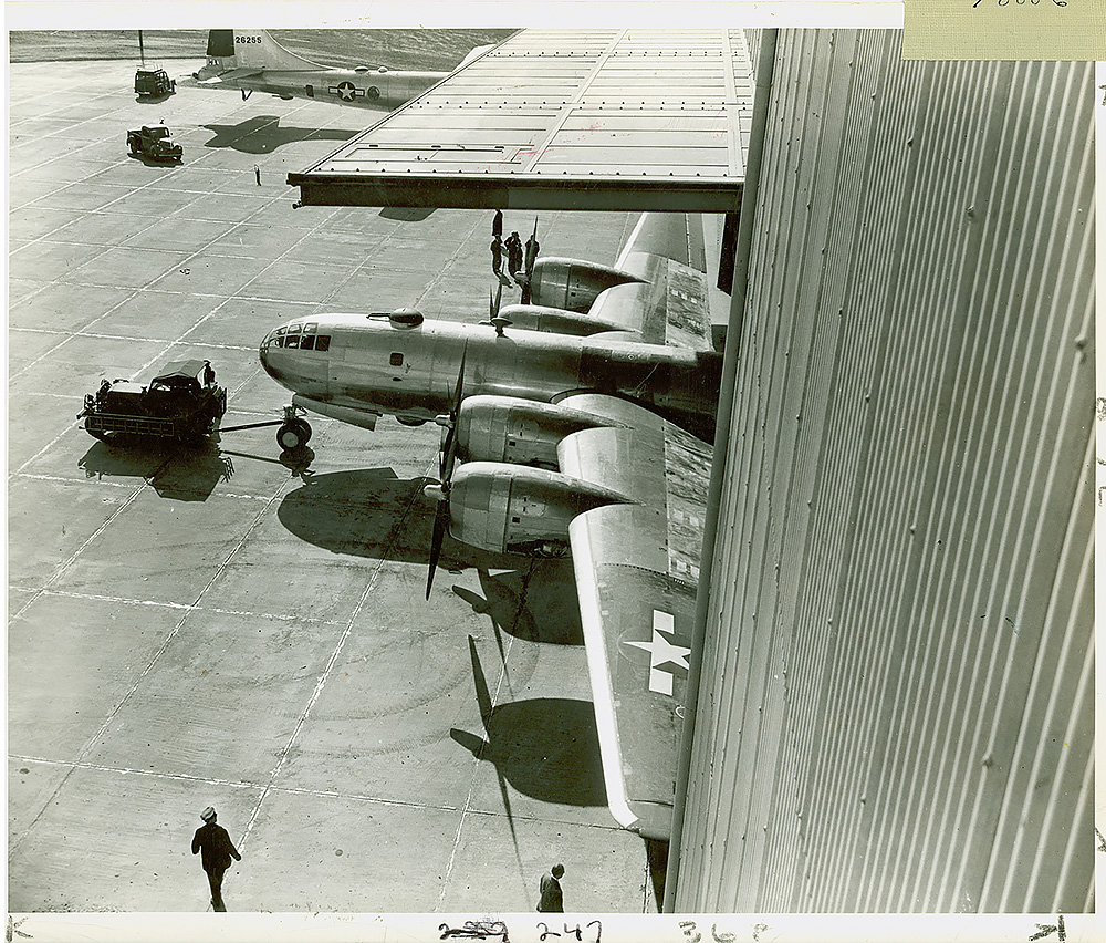 Bell Bomber Plant, Marietta, GA.  The first B-29 bomber assembled entirely in Marietta emerges from the hangar.