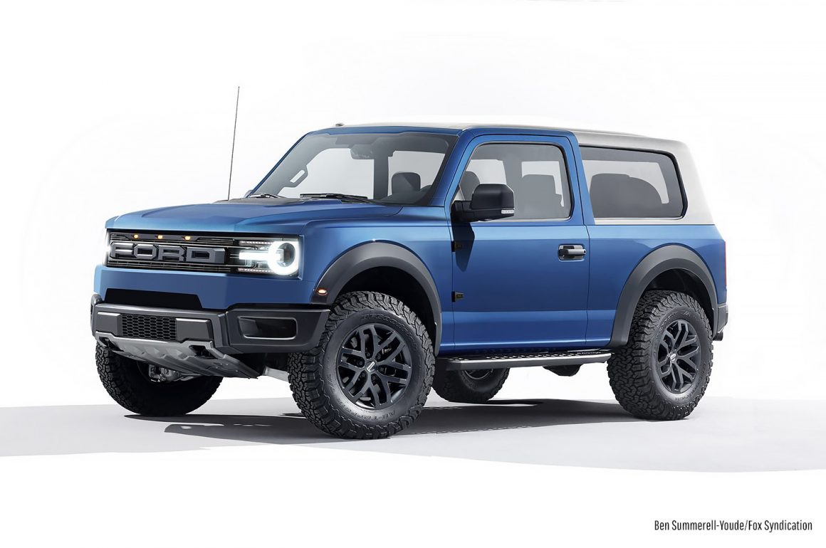 an artists rendering of what the new ford bronco may look like