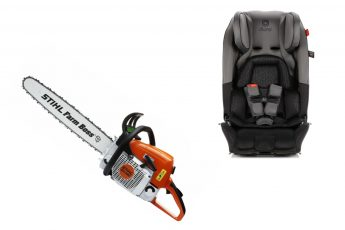 car seat and chainsaw