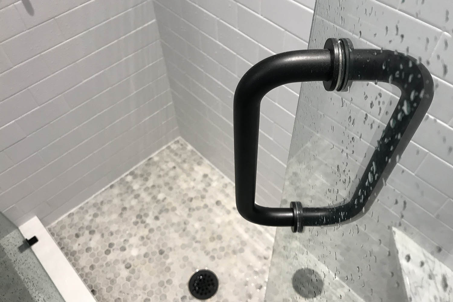 glass shower door with tile detail