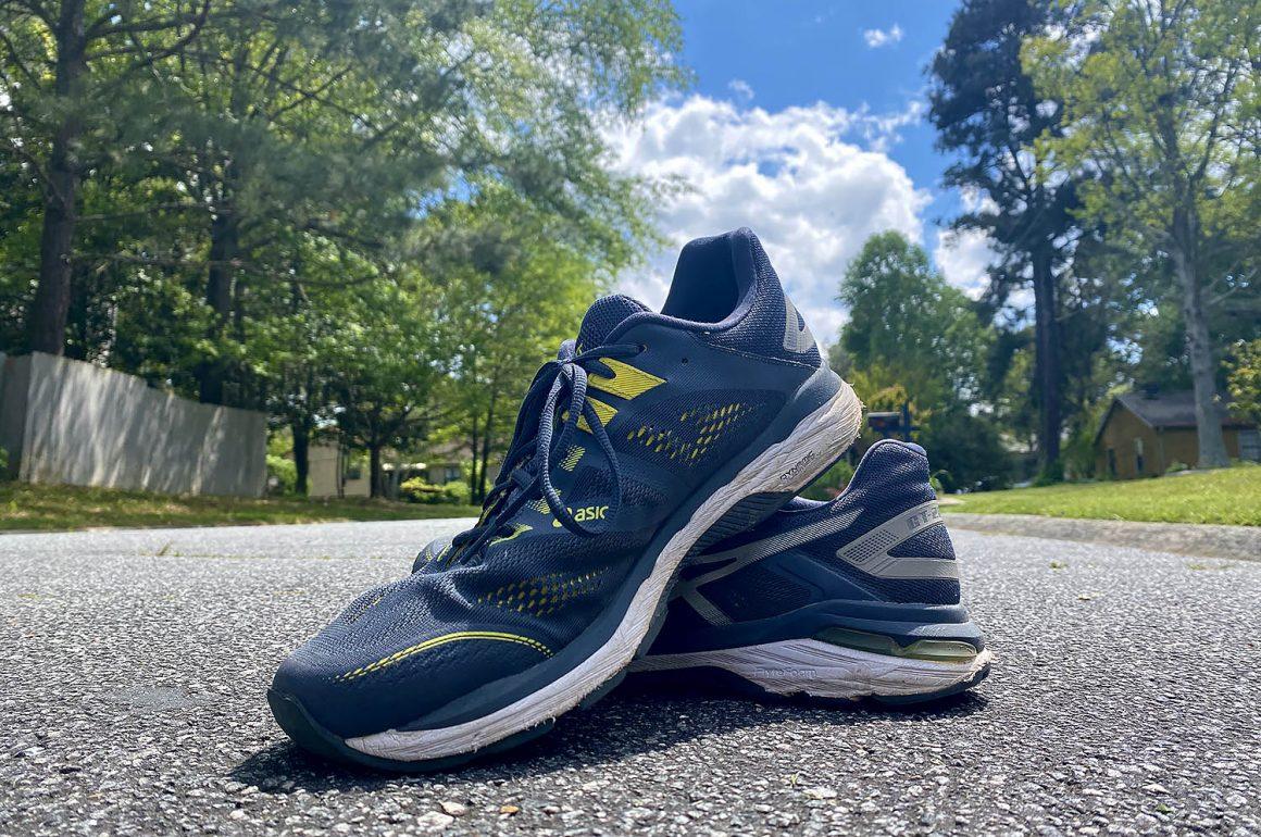 running shoes on asphalt