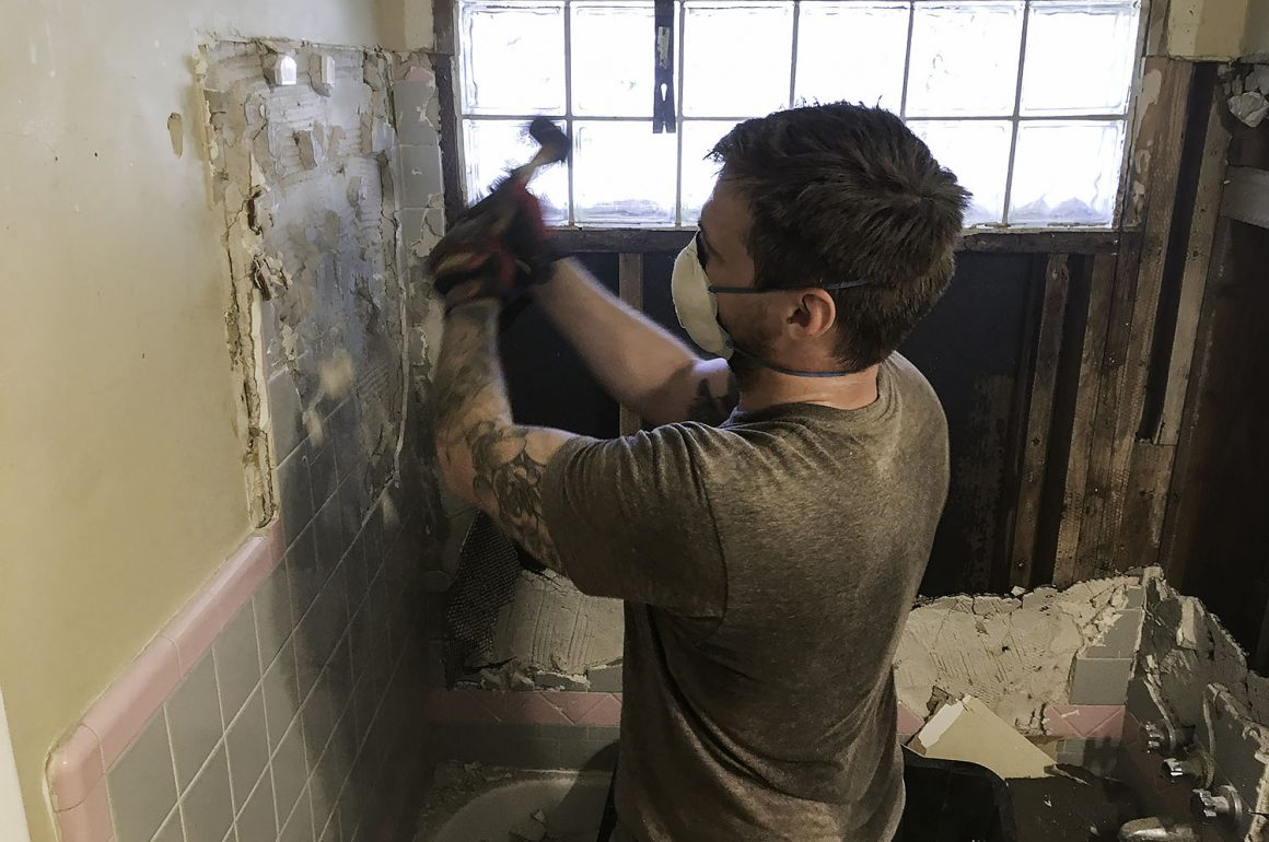 demo of old bathroom