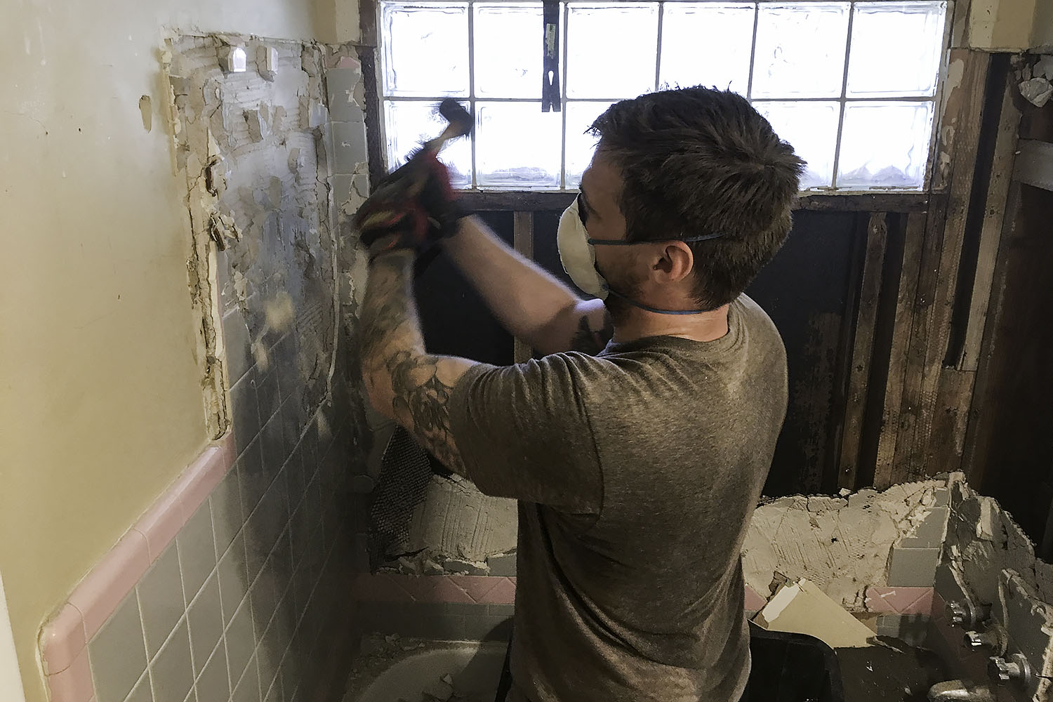 demo of old bathroom