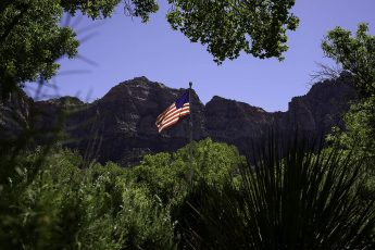 American flag flying at Zion National Park
