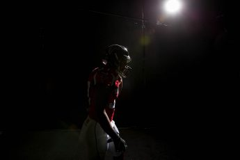 Atlanta Falcons player dramatically lit by photographer Kevin Liles